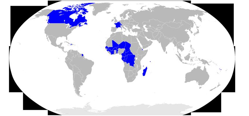 Mapa países habla francesa Lingua Franca
